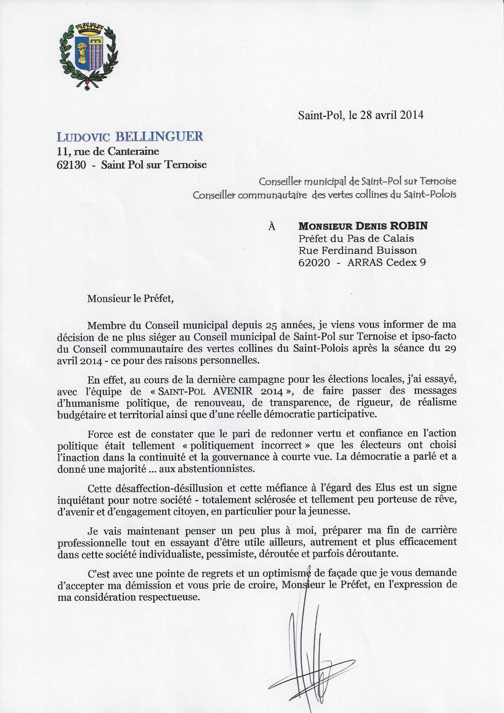 lettre de demission conseil municipal